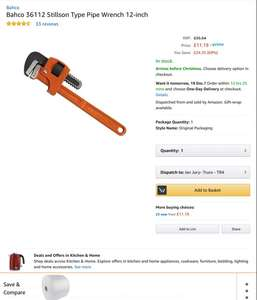 "Bahco stillson pipe wrench 12"" at Amazon for £11.19 Prime (£14.18 non Prime)"