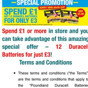 Poundland : 12 Duracell Batteries for just £3!