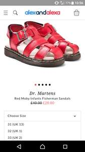 Child's red dr martens sandals @ alexandalexa includes postage - £23.95