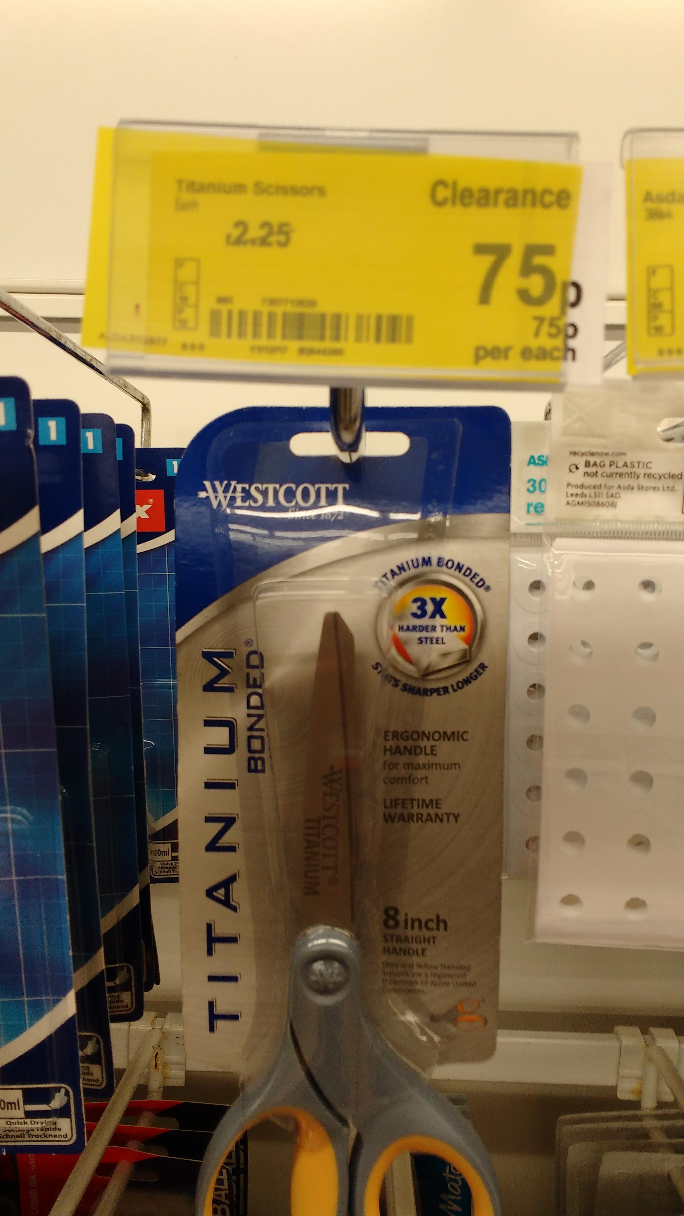 Titanium 8inch scissors reduced to 75p instore Asda