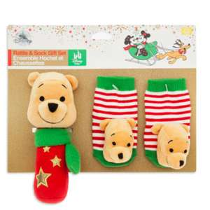 Official Disney Winnie The Pooh Baby Rattle and Socks Gift Set £6.49 / £10.44 delivered @ Disney store