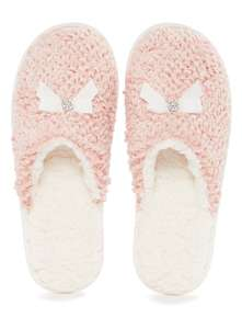 Pink Boucle Knitted Mule Slippers Half price at £5 TU Sainsburys - £3 c&c