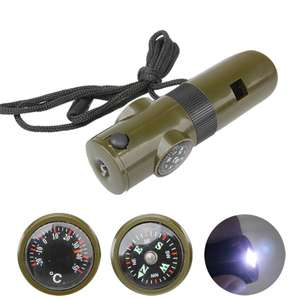 7 in 1 Outdoor Survival Tool with Whistle ,Compass Thermometer LED Flashlight ..... 67p delivered w/code @ Zapals