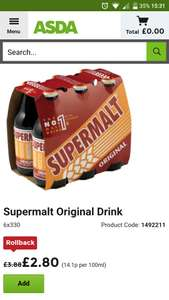 Supermalt Original 6 Pack just 2.80 in Asda (Rollback deal)