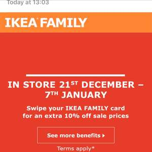 Ikea Sale, starts 21st December, additional 10% off for family card holders