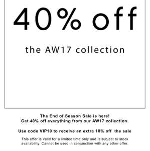40% off AW17 Collection @ Fiorelli with a Further 10% off code