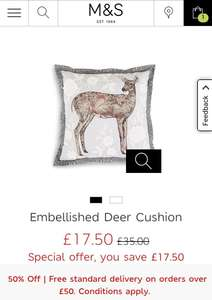 50% off Embellished Deer Cushion at M&S, was £35 now £17.50 (C&C)