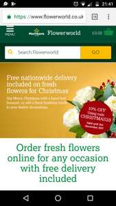 Free national delivery + 10% off Morrison's fresh flowers for Christmas (with code)