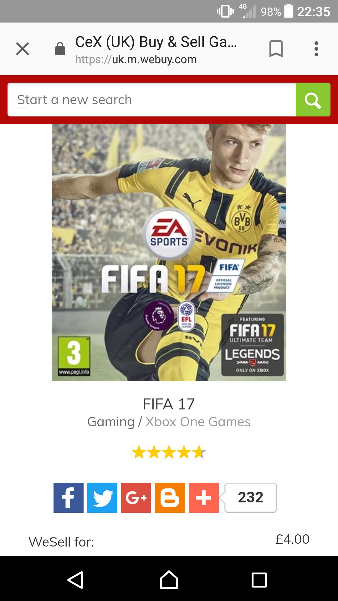 Fifa 17 ( xbox one)  @ cex - £4