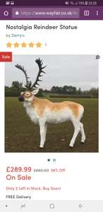 Nostalgia Lifesize Reindeer Statue (1.35metres high) - Now £289 @ Wayfair