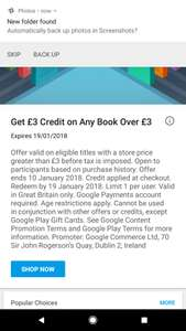 Get £3 credit on any book over £3 on the Google Play Book store.