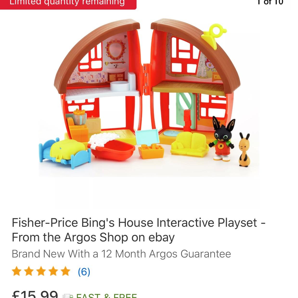 Bing Bunny house play set £15.99  Argos on eBay