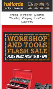 Halfords Workshop Flash sale..19/12/2017 (today's only) (10am-8pm)