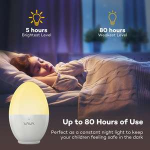 Kids Bedside Lamp, Safe ABS+PP, Breakage Resistant with Adjustable Brightness/Colour -  Touch Control, IP65 Waterproof & 80 hours Runtime £11.99 Prime / £13.59 non prime w/ promo @ Amazon SVT