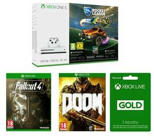 Xbox One S 500gb + 3 Months Xbox Live + Rocket League + Fallout 4 + Doom - £208.98 @ Currys