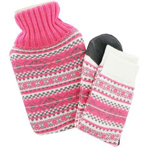 Hot water bottle and knitted socks snuggle set £6 @ The Works