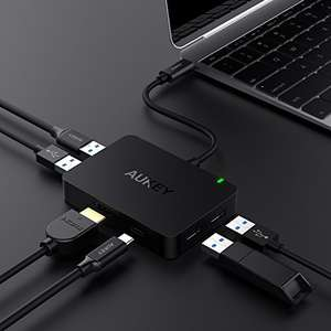 AUKEY USB C Hub HDMI Port ( 4K ), 4 USB 3.0 Data Transfer Ports and 100W USB C PD Port USB Type C Multiport Adapter for MacBook Pro 2016 / 2017, iMac £26.99 Delivered with code Sold by yueying and Fulfilled by Amazon