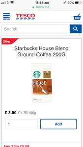 Starbucks ground coffee 2 for £5.50 @ Tesco plus 2 free lattes with packaging