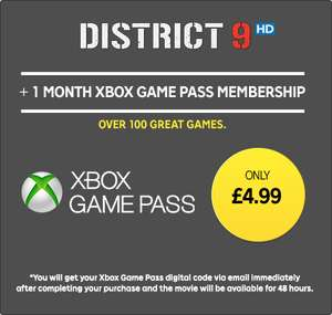 1 month Xbox Game pass membership + DISTRICT 9 Rental in HD - £4.99 @ Rakuten TV (Offer available for new and existing Xbox Game Pass subscribers)
