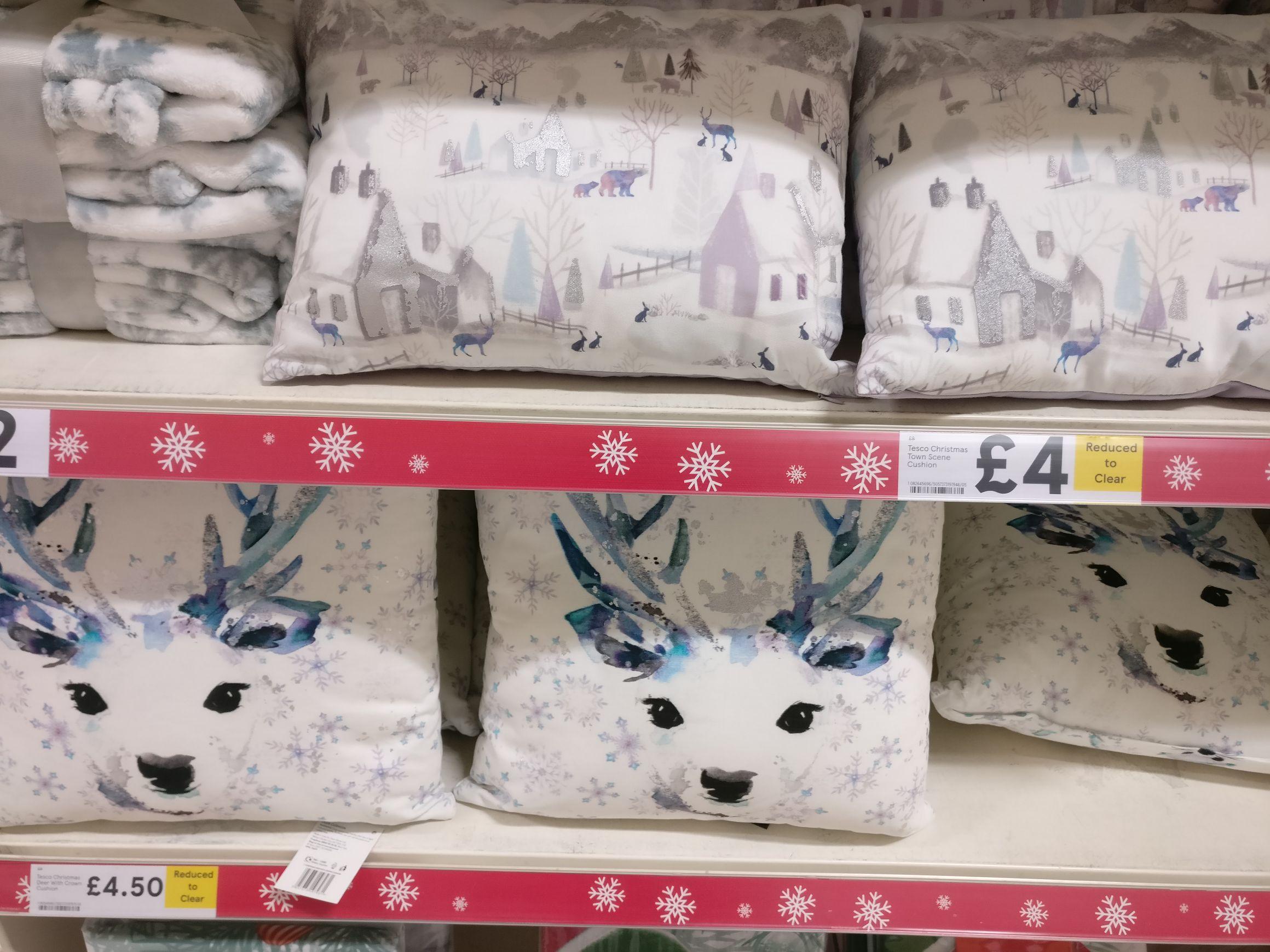 Half price deer and snow scene cushions - £4 / £4.50 @ Tesco instore