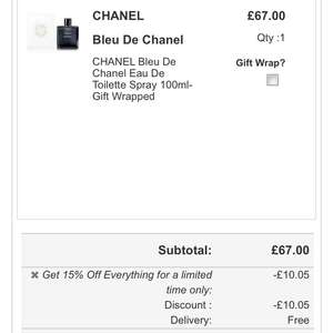 Bleu de chanel 100ml edt £56.65 gift wrapped & delivered @ The fragrance shop
