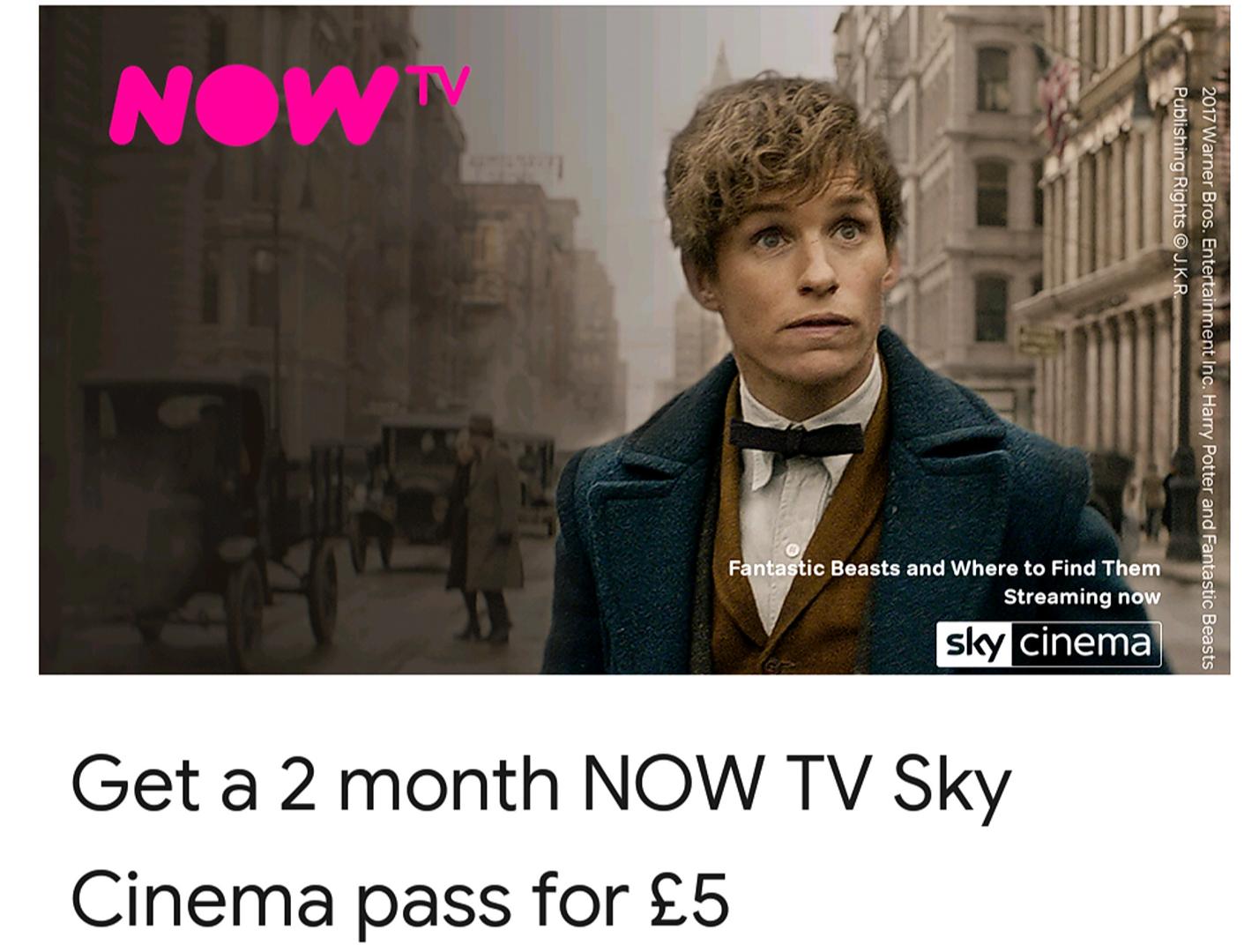 Chromecast in app offer 2 Months NowTv for £5