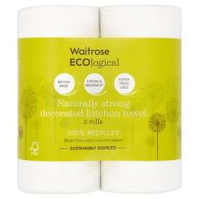 Waitrose ECOlogical Decorated or White Kitchen Towels 2 pack 100 sheets for only 68p with PYO @ Waitrose