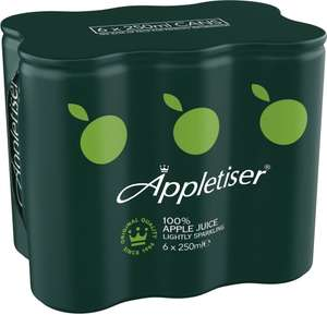 Appletiser 100% Apple Juice Lightly Sparkling (6 x 250ml) (33p a Can) Save £1.25 was £3.25 now £2.00 @ Tesco