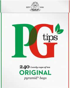 PG tips Pyramid Black Tea Bags (240 = 696g) Only £3.50: Save £1.00 @ Sainsbury's