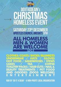 Do It For Dean's Christmas Homeless Event 23rd Dec 3pm @ Apostles Church in Ancoats,Manchester- Plenty of food & Daily essentials Free for the homeless!