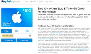 10% of iTunes/App Store gift card when paying via PayPal