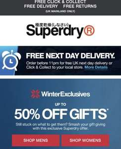 SUPERDRY- free next day delivery PLUS up to 50% off Gifts! No Minimum spend!!