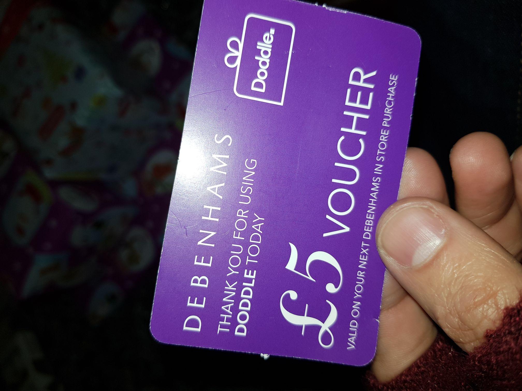 Free £5 voucher when you pick up Doddle parcels Debenhams Clapham Junction