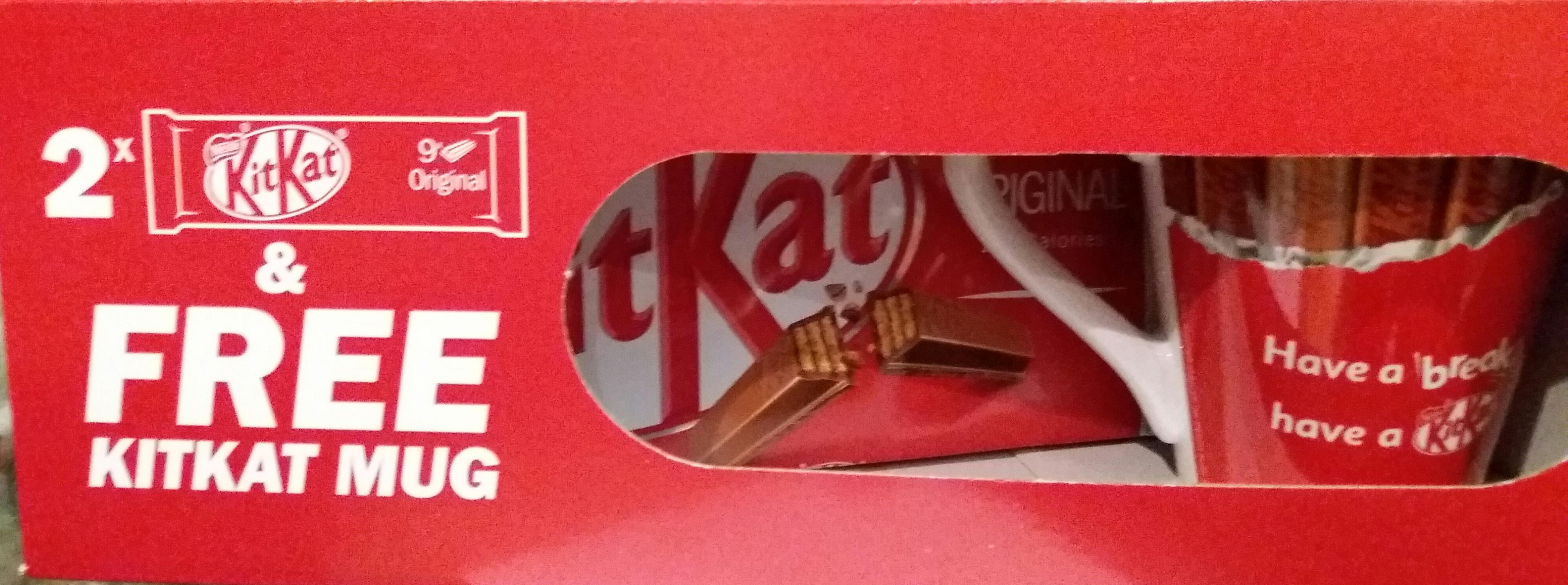 2 x 9 KitKats plus free mug Tesco (Addlestone) - 75p