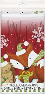 Plastic Woodland Christmas Tablecloth, 7ft x 4.5ft Add-on Item - £1.09 @ Amazon