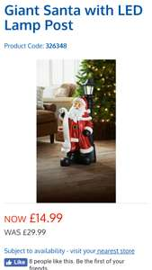 Giant Santa with LED lampost from B&M - £14.99