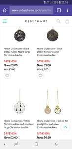 40% off Christmas baubles at Debenhams. Includes Silent Night, reindeer and gold - Items from £3