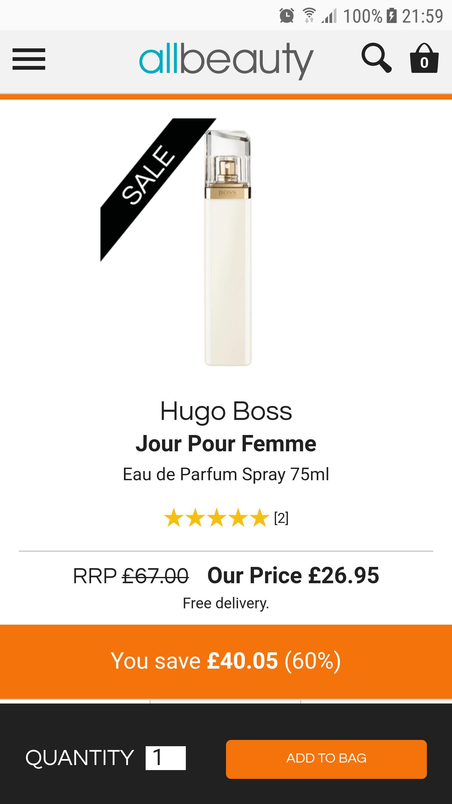 Allbeauty. Hugo Boss Jour Pour Femme Eau de Parfum Spray 75ml - £26.95 @ All Beauty