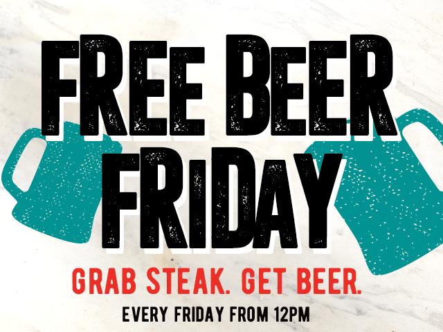 Free Beer Friday at Flaming Grills!