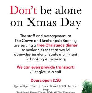 Free Christmas Dinner for Elderly on Christmas Day @ Crown & Anchor Pub in Bromley