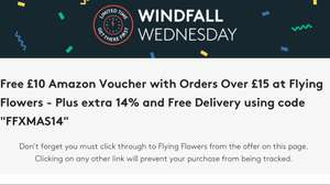 vouchercodes windfall Wednesday - £10 Amazon voucher with orders over £15 at Flying Flowers