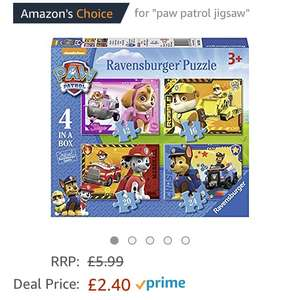 Paw Patrol 4 in 1 Jigsaw £2.40 (Prime) / £6.39 (non Prime) at Amazon