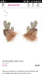 Reindeer Hair Clips £2.50 at  accessorize