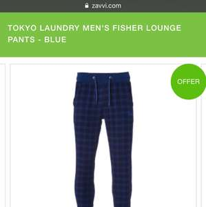 TOKYO LAUNDRY MEN'S FISHER LOUNGE PANTS - BLUE £4.75 + £3.95 delivery at Zavvi