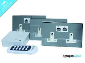 Home Automation Bundle - Energenie MIHO040 2-Gang Socket Bundle - Chrome - £37.46 - Ebuyer
