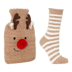 Festive Reindeer Hot Water Bottle and Socks Set. Was £16.50 Now £8.25 -  Debenhams