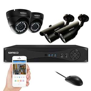 Smart CCTV System, SANSCO 4CH 1080N DVR Recorder with 4x Super HD 1.3MP Camera - £99.99 @ Sold by CCTV_Channels and Fulfilled by Amazon
