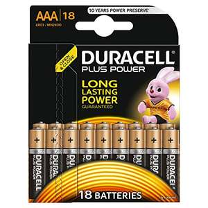 Duracell Plus Power AAA / AA Alkaline Batteries (18 Pack) £7.99 (Prime) / £11.98 (non Prime) at Amazon - Lightning Deal