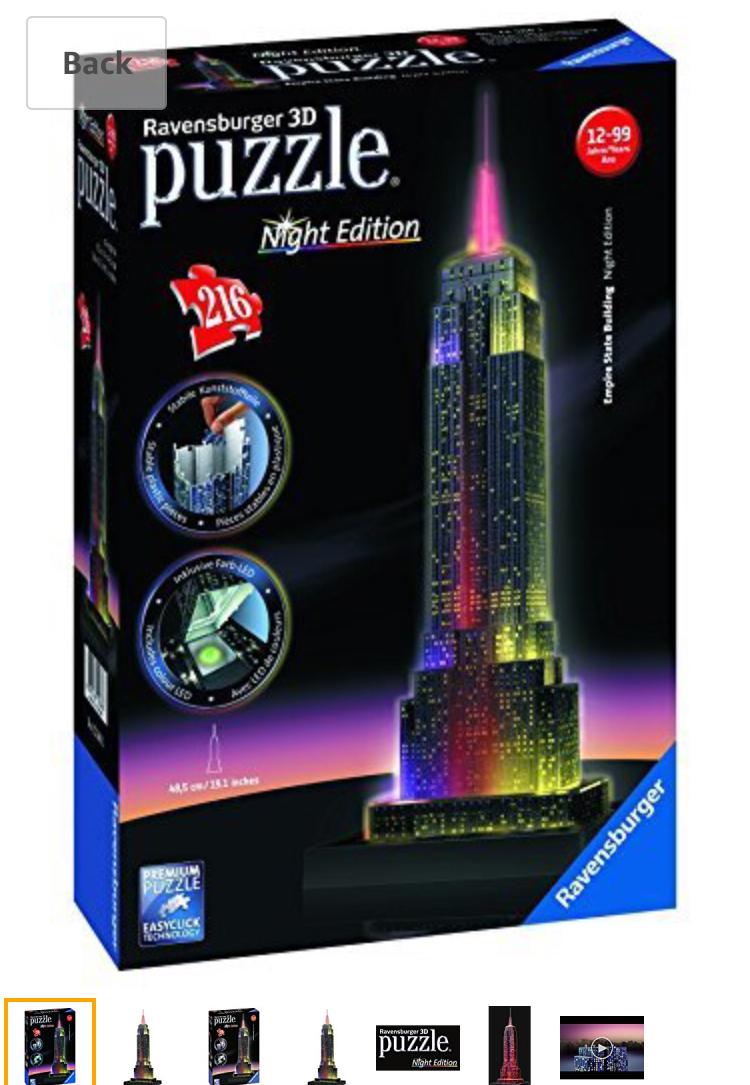 Ravensburger Empire State Building - Night Edition, 216pc 3D Jigsaw Puzzle® Now £10 (Prime) £14.75 (Non Prime) @ Amazon