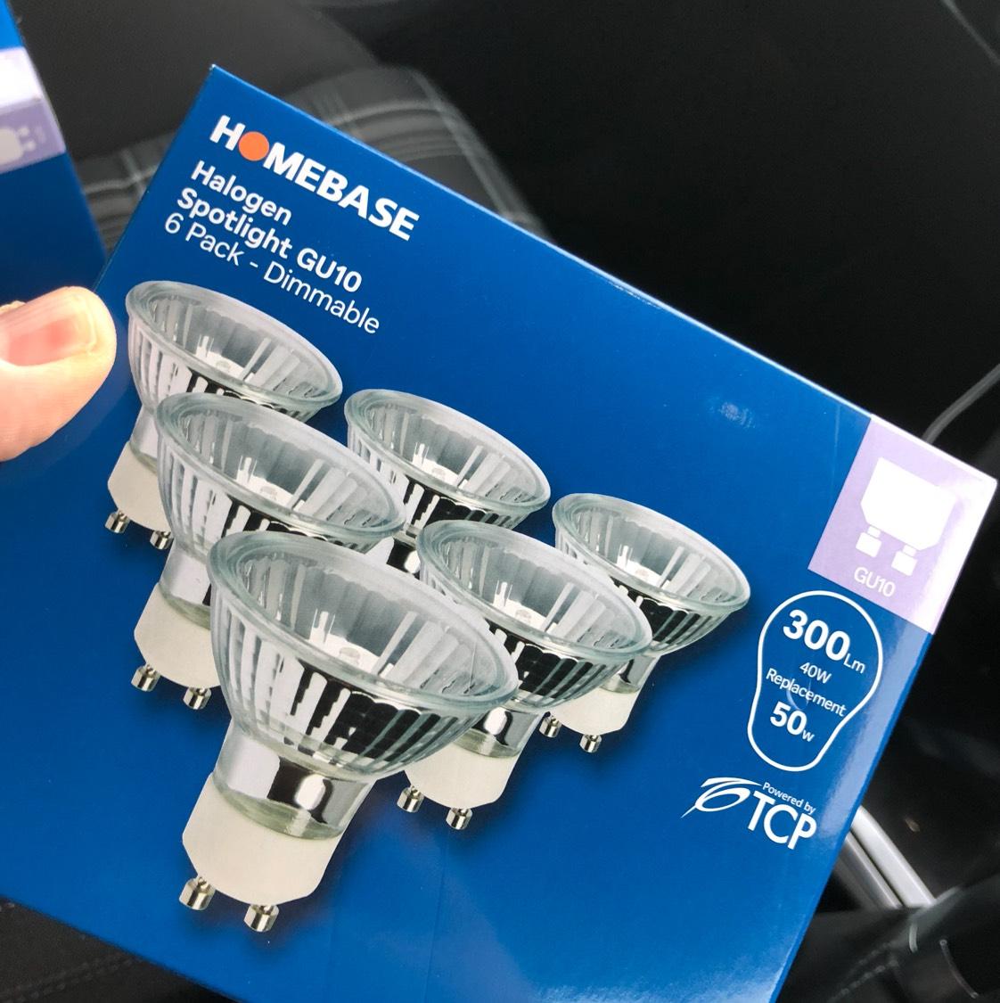 Halogen GU10 40w bulb x 6 @ Homebase - £1